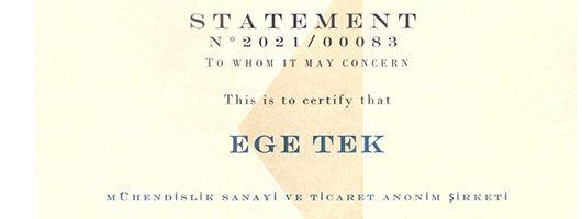 Rina sertifikasyonumuz teslim aldık